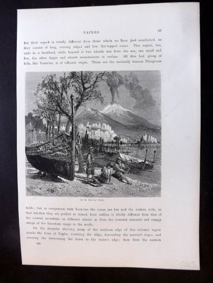 Picturesque Europe C1875 Antique Print. On The Beach at Naples, Italy